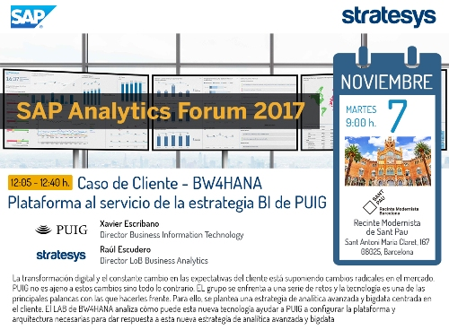 Stratesys - SAP Analytics Forum 2017 - Caso BWHANA PUIG - BCN 07 NOV 2017